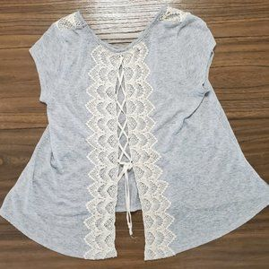 Altar'd State TShirt Lace Embellishment Open Back